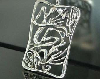 VIOLINIST silver pendant - ready to ship