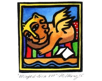 SUNBATHING WINGED LION linocut Aceo