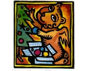 Christmas Winged Lion linocut card ACEO