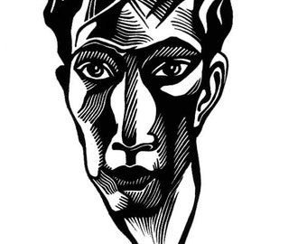 Linocut portrait of Russian Poet BORIS PASTERNAK