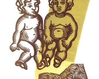 GEMINI (May 21 - Jun 21) Twins zodiac linocut greeting card