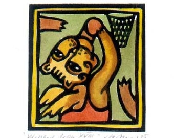 Basketball Winged Lion linocut ACEO