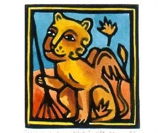 Winged Lion Raking Leaves linocut ACEO