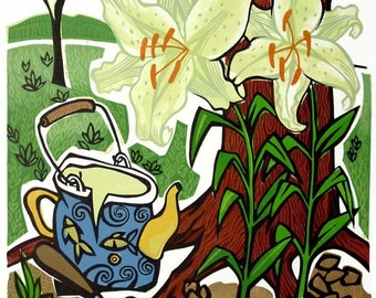 TEA FOR TWO linocut