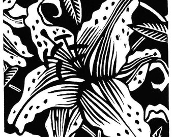 Spotted Lilies linocut