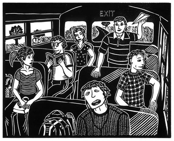 AFTERNOON BUS linocut by Lev