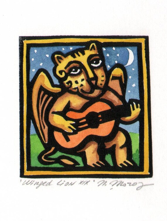 Guitar Playing Winged Lion linocut ACEO