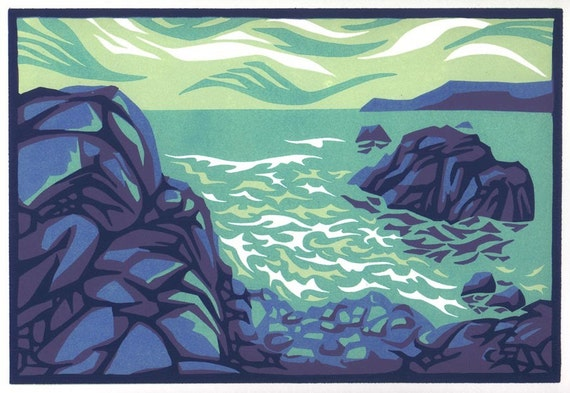 BREAKING WAVES reduction linocut seaside view