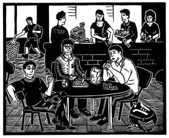 SCHOOL CAFETERIA linocut by Lev