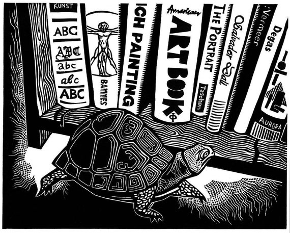 TURTLE IN A LIBRARY linocut