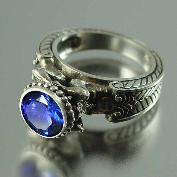 Caryatid Silver Ring with Sapphire