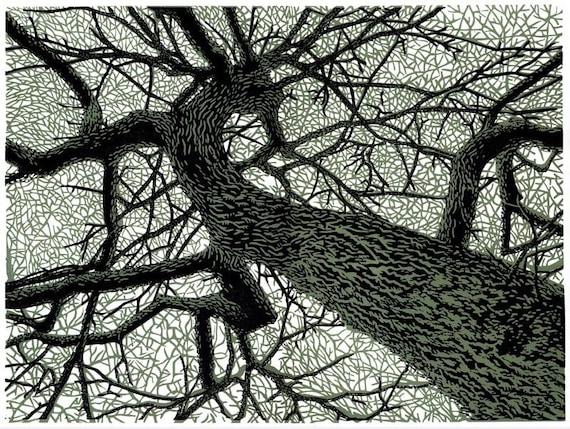 Winter Branches linocut