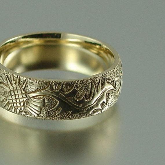 THISTLE 14K gold band - mens wedding ring