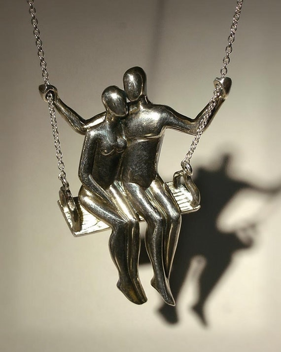 TWO ON A SWING silver pendant