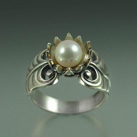 WHITE LOTUS pearl silver ring