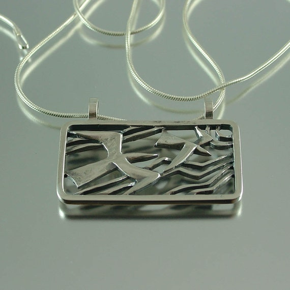 SEAGULLS silver pendant Ready to ship