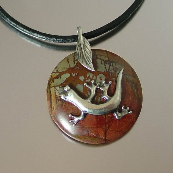 Ready to ship SALAMANDER silver pendant by Lev