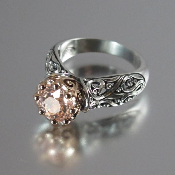 The ENCHANTED PRINCESS engagement ring in silver and 14k rose gold with Morganite RESERVED for Noelle - 1st payment