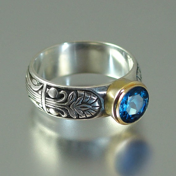 ALEXANDRIA ring in silver and 14K gold with London Blue Topaz