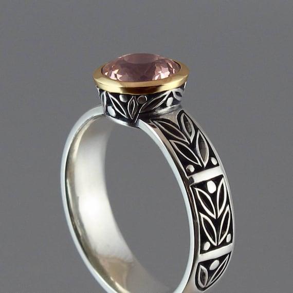 LAUREL CROWN silver &14K gold ring with Morganite