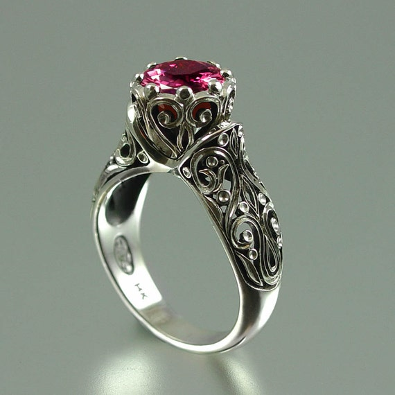 The ENCHANTED PRINCESS 14k gold Tourmaline engagement ring RESERVED for Kyle - final payment