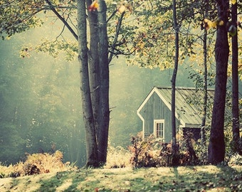 Early morning in the fall, little house in the woods, sunburst, sun rays through trees, ethereal, peaceful
