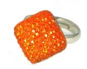 Sparkling Orange Gem Ring on adjustable silver ring band