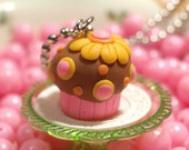 BUY1GET1 - FREE SHIPPING - Cupcake Delight Pendant - Melon Orange Fondant