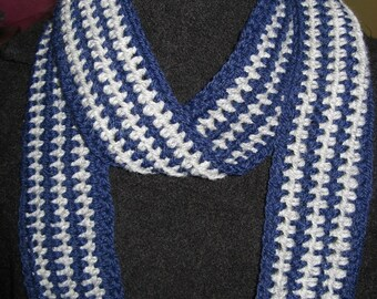 Winter Skies - Blue and Gray Striped Crocheted Scarf