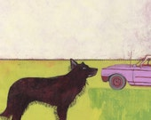 Wolf - original acrylic painting on paper