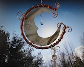 Moon Man, Stained Glass Sculpture Copper Crystals, Windchime, Mobile