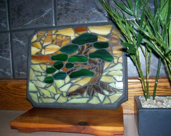 "Stained Glass Mosaic Bonsai Tree, Sculpture, Japanese, Nature, Moss, Home Decor, Wall Hanging, Glass Tree, ""Sunset Beneath the Bonsai"""