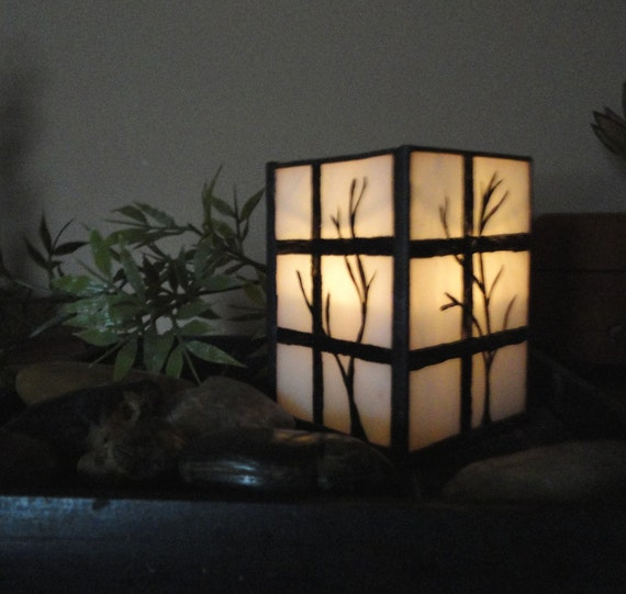 Japanese Shoji Stained Glass Candle Holder, Hand Painted