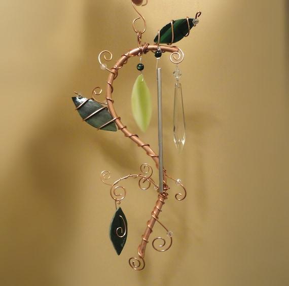 A Copper Vine, Garden Sculpture, Glass and a Vintage Crystal, Windchime, Mobile, Suncatcher
