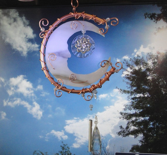 Moon Man, Stained Glass Sculpture, Windchime, Mobile, Wall Hanging