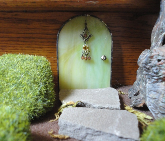 SALE, Fairy Door, Green Stained Glass