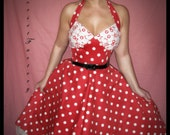 Rockabilly, Pinup, Goth ,Cherry Skull  red 50's Polka Dot dress