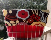 Red, Yellow, Brown, and Turquoise Floral Print Bike/Bicycle Basket Case (Basket Liner) Converts to Backpack
