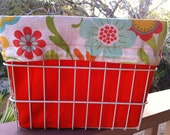 Orange, Yellow, Green, Blue Foral Print Bike/Bicycle Basket Case (Basket Liner) Converts to Backpack