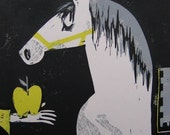 yellow apple, horse