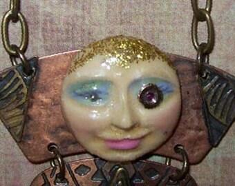 Lady Daria locket Pendant Necklace  Ruby Monacle Steampunk Industrial Vintage