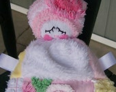 Vintage Pastel Patchwork Chenille Lovey Baby Doll