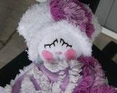 Vintage Lavender Chenille Baby Doll Lovey Blanket
