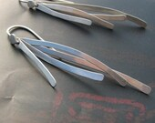 Gestures: Sterling Silver Delicately Curved Modern Long Dangle Earrings