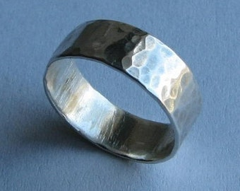 River Band: Sterling Silver Wide Hammered Made-to-Your-Size Everyday Ring