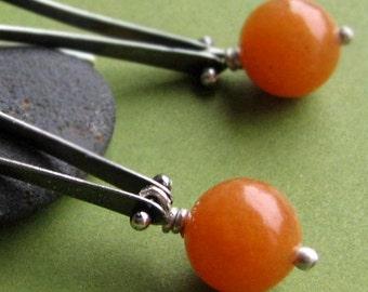 Valerie Orange: Sterling Silver Oxidized Riveted Dangling Peach Aventurine Long Loop Earrings