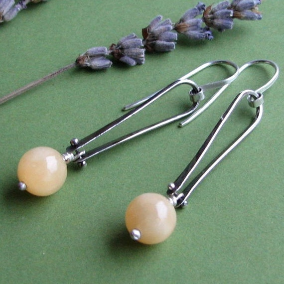 Valerie Yellow: Sterling Silver Oxidized Riveted Dangling Yellow Jade Long Loop Earrings