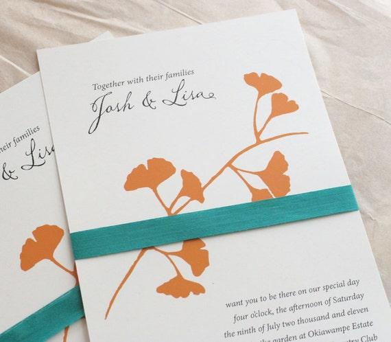 Items Similar To Ginkgo Wedding Invitation Tangerine