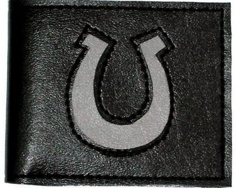 Billfold Wallet with Horseshoe Design in Black and Gray