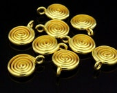 KG-489 thai karen hill tribe silver 4 gold vermeil swirl wire round disc charm